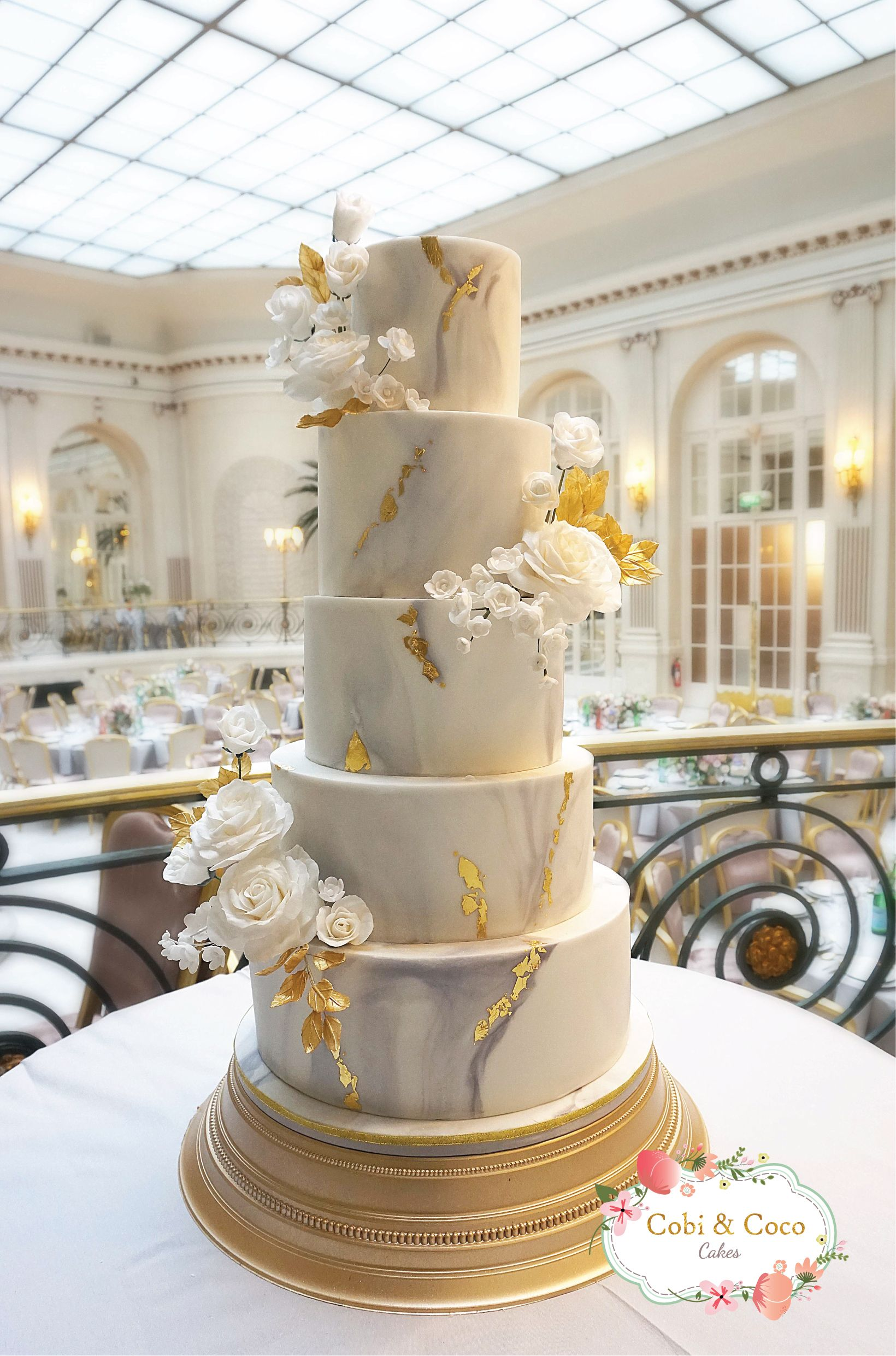 Marble Gold Leaf Wedding Cake With White Roses At The Waldorf
