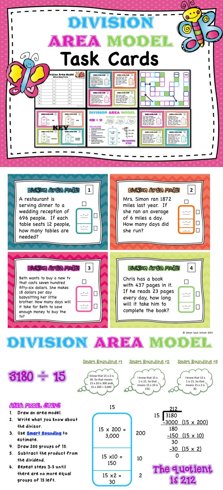hight resolution of Area Model for Division Task Cards –Task cards are very versatile and a  great alternative to worksheets. T…   Area model division