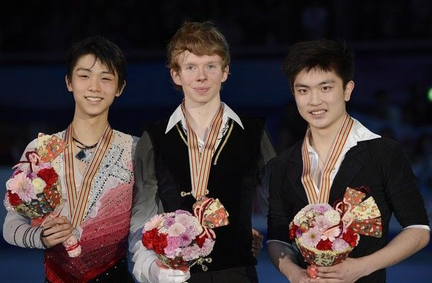 OSAKA, JAPAN - FEBRUARY 09:  Kevin Reynolds of Canada wins the gold medal, Yuzuru Hanyu of Japan wins the silver medal, Han Yan of China wins the bronze medal in the Mens Free Skating during day two of the ISU Four Continents Figure Skating Championships at Osaka Municipal Central Gymnasium on February 9, 2013 in Osaka, Japan.