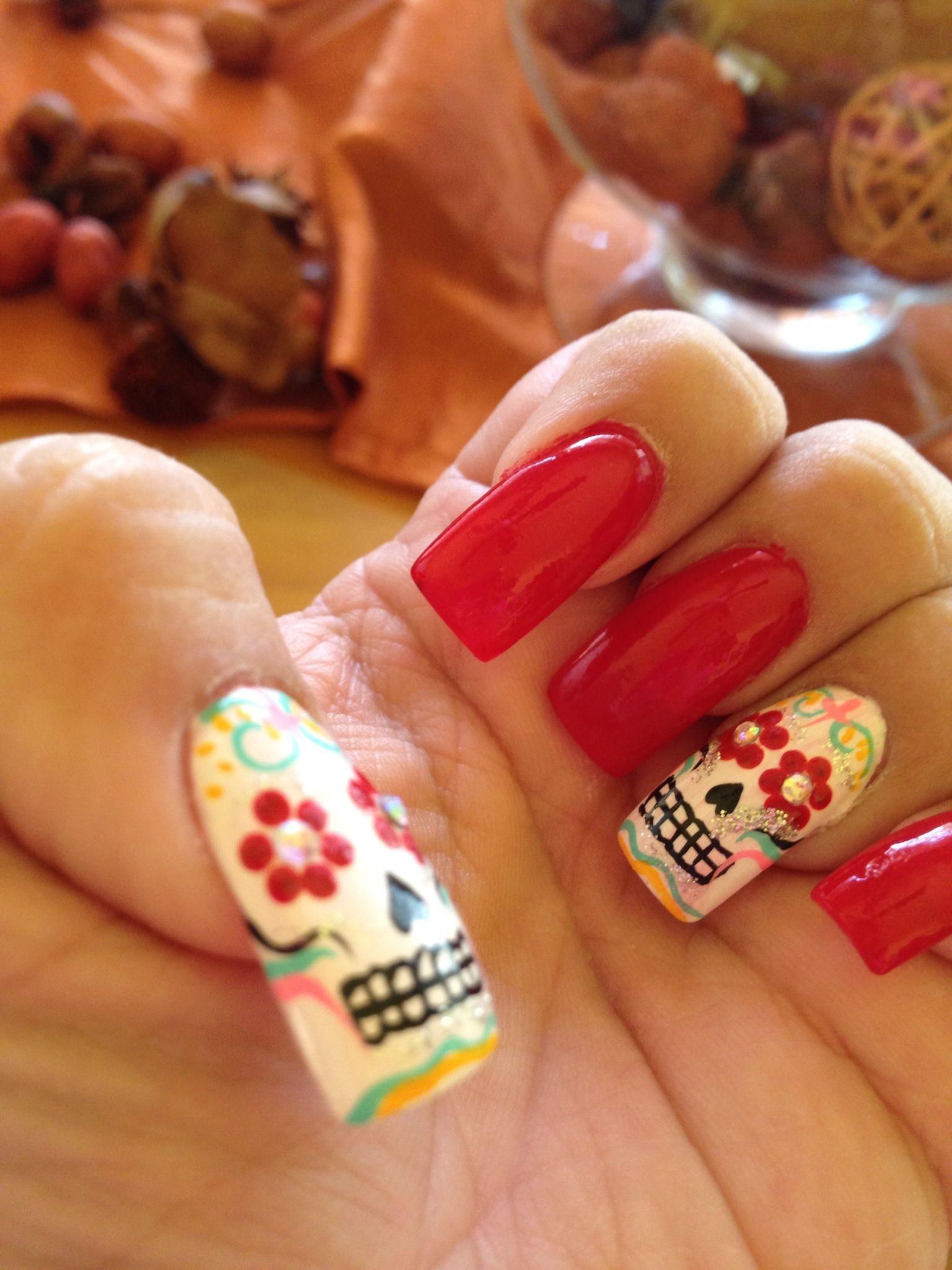 Dia de Los muertos nails | nail designs | Pinterest | Sugar skull ...