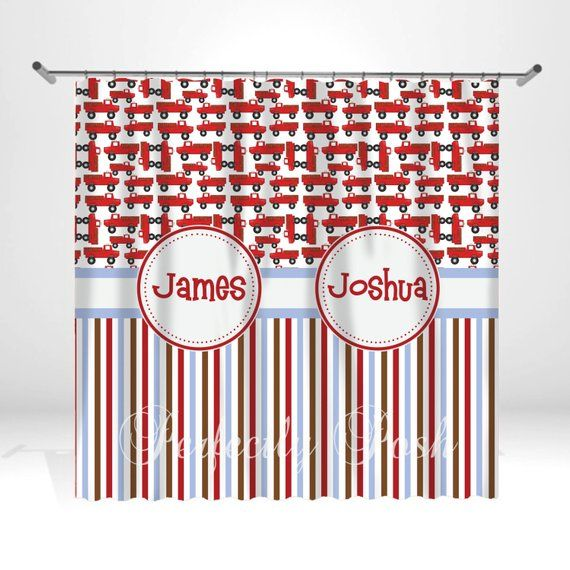 Firetruck Personalized Custom Shower Curtain Monogram With Name Or Initials Perfect For Any Bathroom