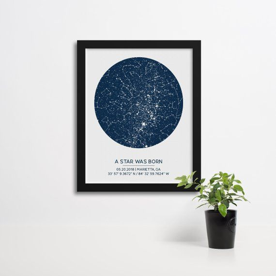First Anniversary Gift, Custom Star Map Poster