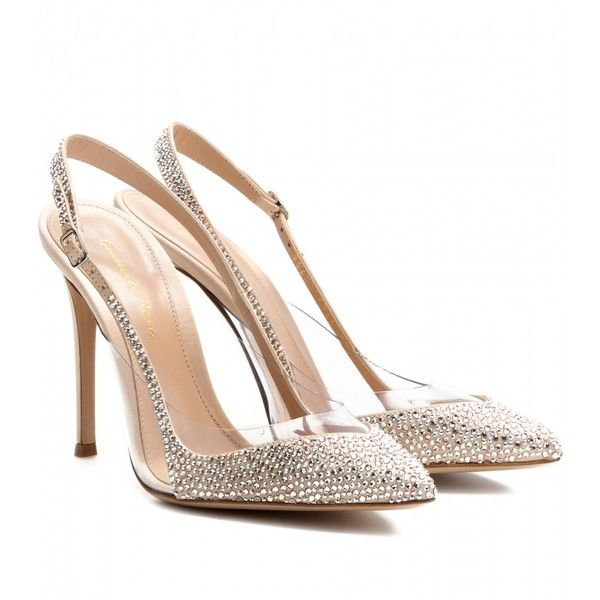 scarpe sposa Gianvito Rossi Crystal-Embellished Satin And Transparent Pumps