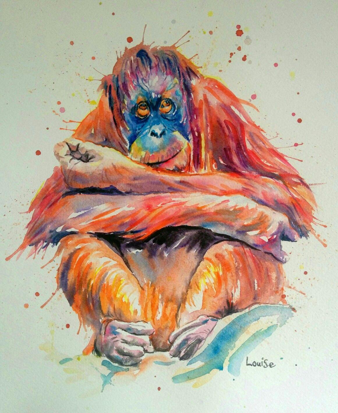 83c63c01c Watercolour Orangutan Work With Animals, Palm Oil, Watercolor Animals,  Watercolour, Watercolor Portraits