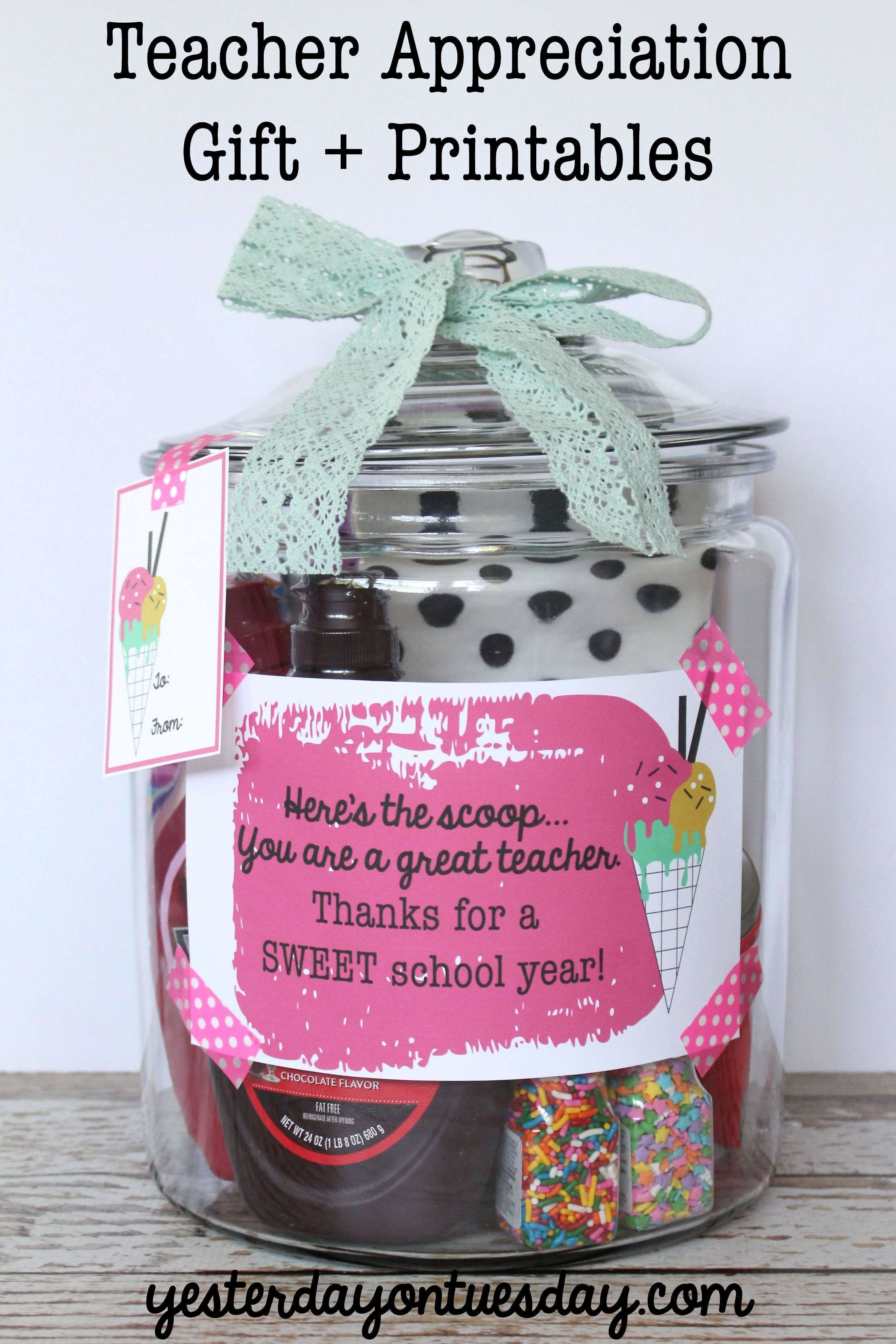 Teacher Gift In A Jar Ice Cream Themed Teacher Appreciation