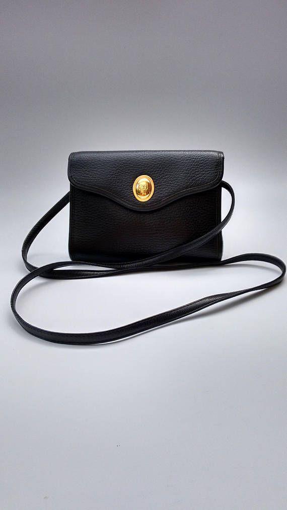 32cabc045c2c DIOR Christian Dior Vintage Black Leather Shoulder Bag. French ...