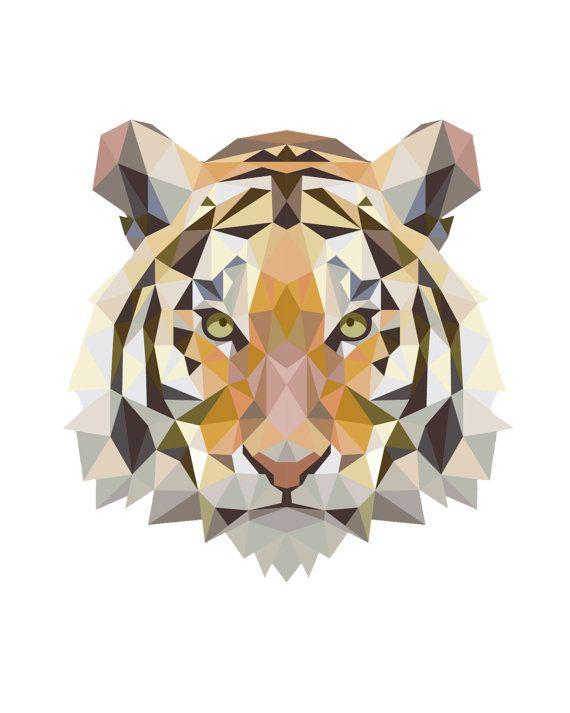 Geometric Tiger Art Low Poly Tiger Print Geometric Tiger Animal Art Orange Downloadable Print Art Tiger Clipart Geometric Tiger Geometric Animals Tiger Art