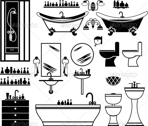 Set of Black Icons of Bathroom #GraphicRiver Vector illustration. It is created in the CorelDraw program. It is edited in the Adobe Illustrator program. It is kept in illustrator eps version 8. The file can be edited in any program of vector graphics. The size of the file can be increased till any size without quality loss. In this file there are no gradiyentny fillings and mesh. File full-color. The illustration can be used both entirely, and in parts. Created: 24May13…