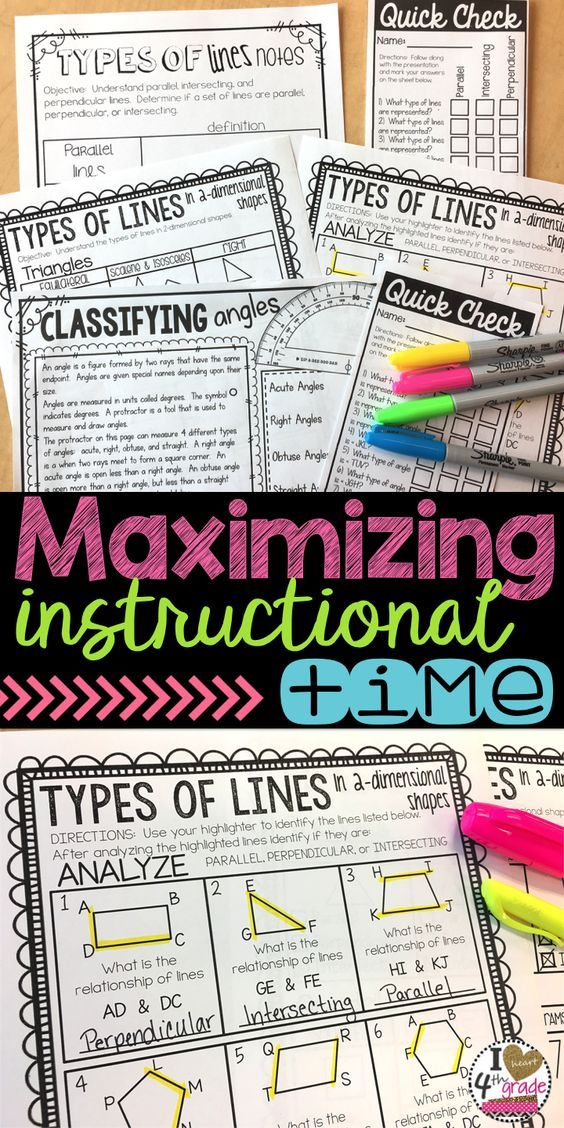 Maximizing Instructional Time Lesson Plans 4th Grade Math
