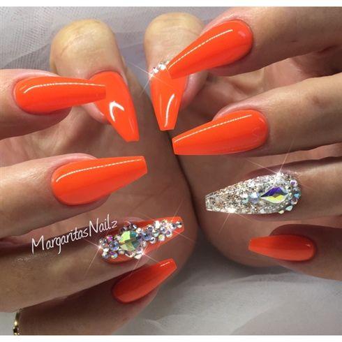 neon orange coffin nails margaritasnailz
