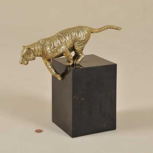 Antique Finished Cast Brass Tiger on Black Penshell Base