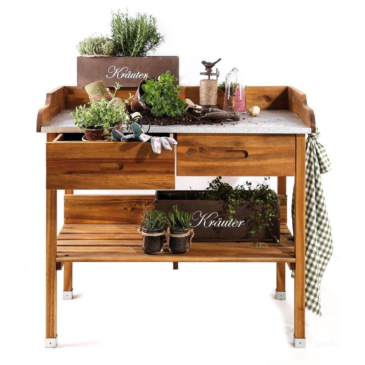 Pflanztisch Akazie Fur Garten Terrasse Balkon Shop Ambiente Mediterran Pflanztisch Tom Garten Pflanzentisch
