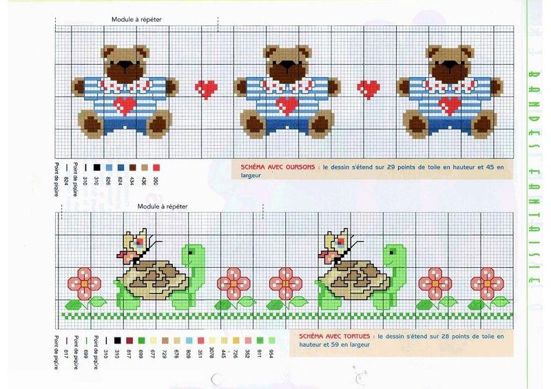 Petits motifs pour bavoirs serviettes de toilettes grilles point de croix pinterest - Broderie point de croix grilles gratuites ...