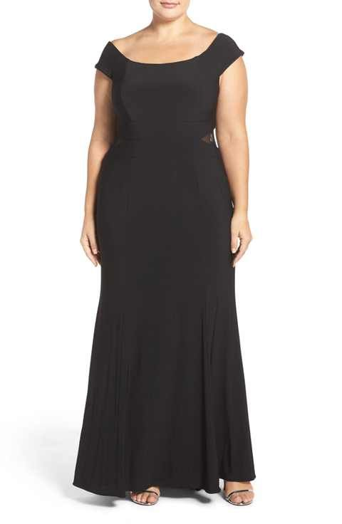 Xscape Off the Shoulder A-Line Gown (Plus Size)