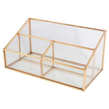 Threshold Glass and Metal 3 Compartment Vanity Organizer : Target