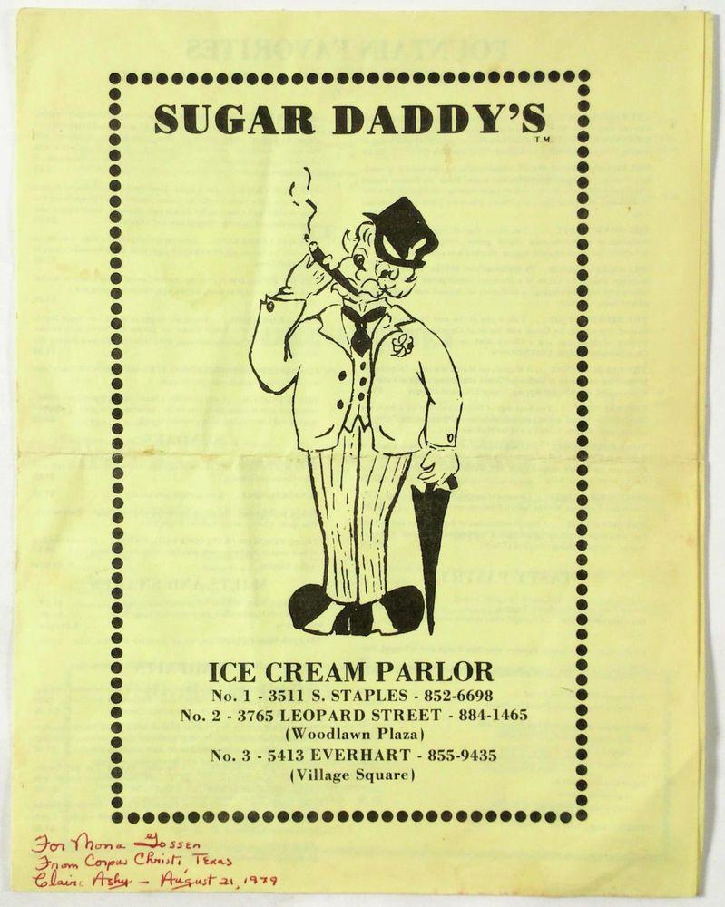 1979 Vintage Menu Sugar Daddy S Ice Cream Parlor Restaurant Corpus