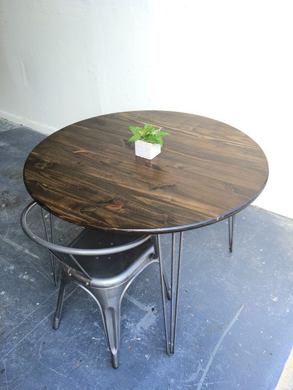 36 round hairpin kitchen table industrial table by groveandanchor 42 round kitchen table with steel hairpin legs by groveandanchor      rh   pinterest com