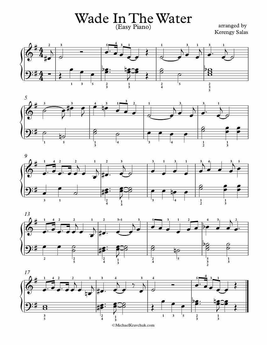 Free Piano Arrangement Sheet Music Wade In The Water Easy Level