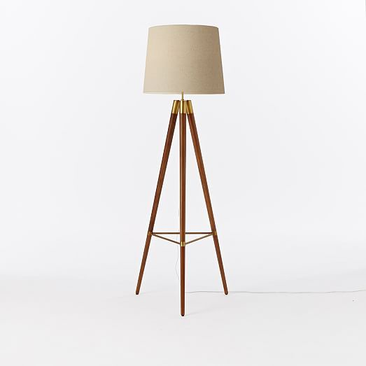 Mid Century Wood Tripod Floor Lamp   Walnut | West Elm