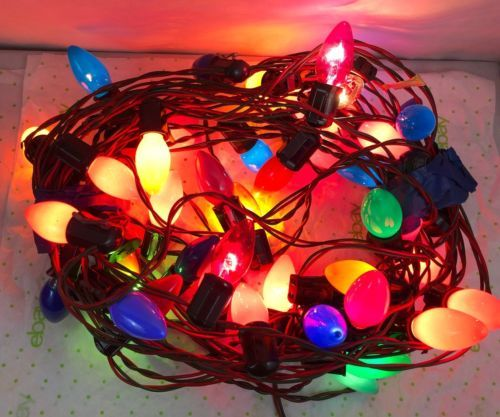 vintage c9 christmas light string 40 sockets multi color bulbs work c9 christmas lights light string and christmas lights