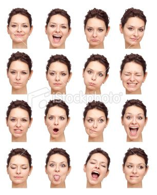 beautiful young girl face expressions isolated on white
