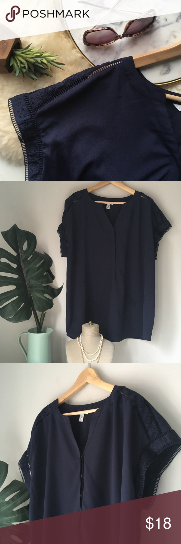 "Silky Navy Henley Blouse Beautiful top to wear casually with jeans or tuck into a skirt! Very good preowned condition.   24"" Across 29"" Length croft & barrow Tops Blouses"