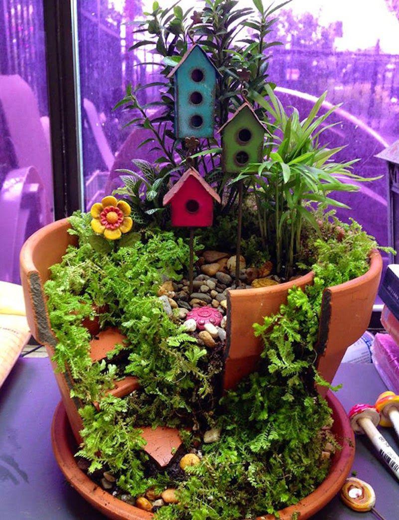 Recicla Macetas Rotas Para Convertirlas En Maravillosos Jardines  ~ Macetas Originales Para El Jardin
