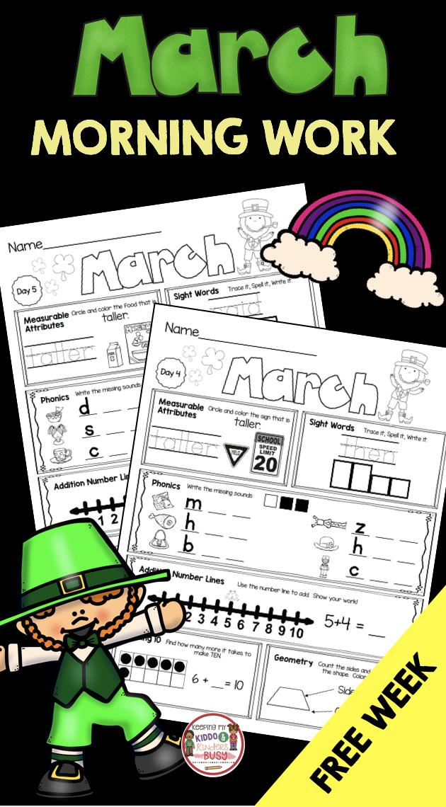 FREE Morning Work for Kindergarten - March Seat Work - math