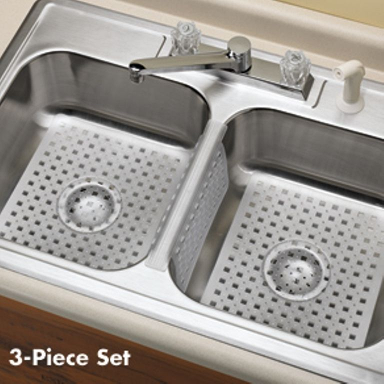 New Set Of 3 Kitchen Sink Mats Saddle Divider Clear Rubber Protect Dishes Sink Mats Kitchen Island With Sink Sink