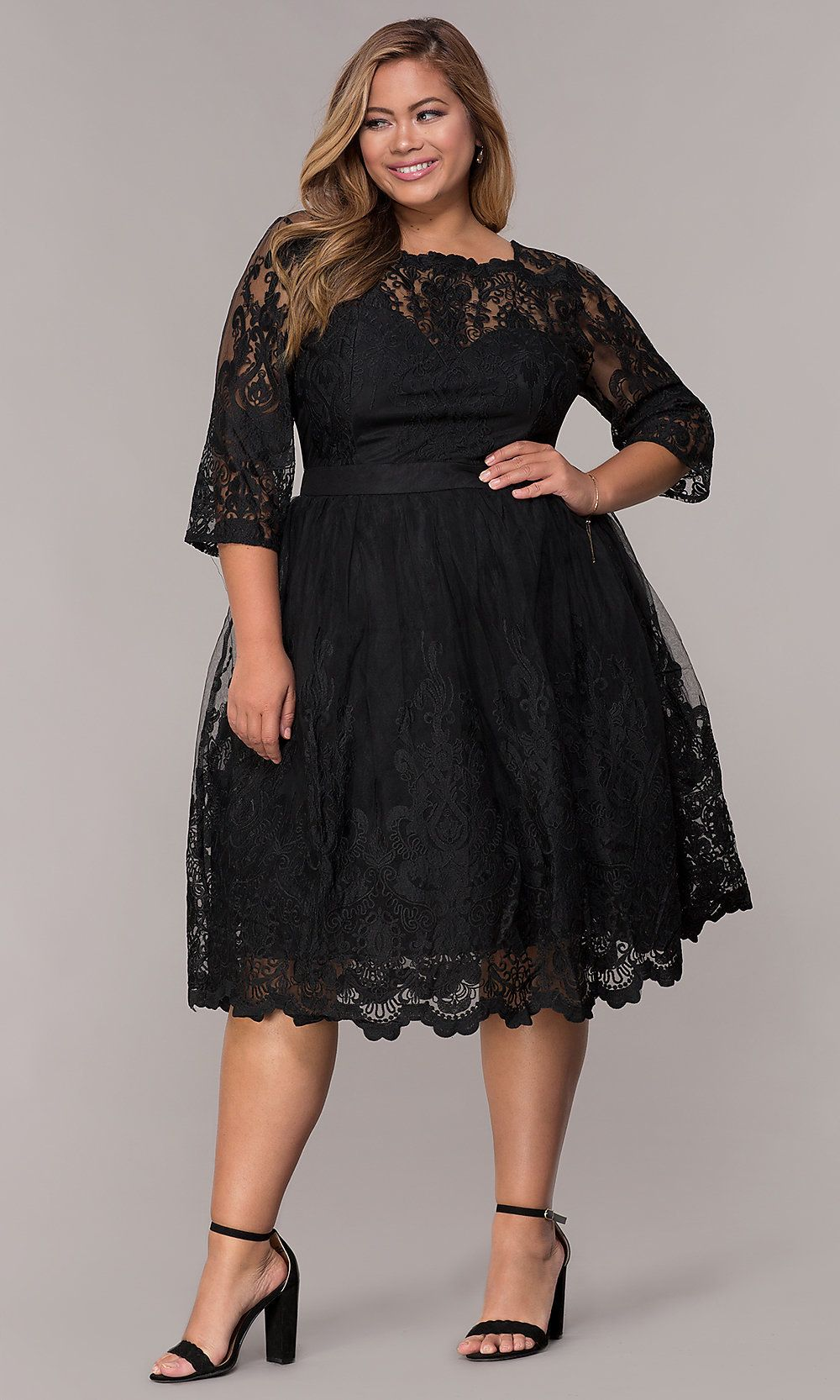 Short Embroidered-Mesh Plus-Size Party Dress | Graduation ...