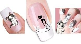 Cat Nail Art, nail wraps and decals. #catnailart #catnailstickers #cats