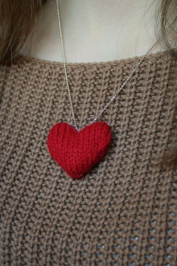 Tiny Heart Knitting Pattern : Knitted heart necklace Knit Hearts/Stars/moon/sun ...