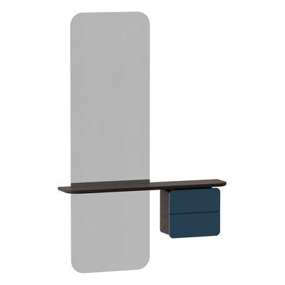 Photo of Umage One More Look Modern & Contemporary Frameless with Shelves Accent Mirror Finish: Petrol Blue/Dark Oak
