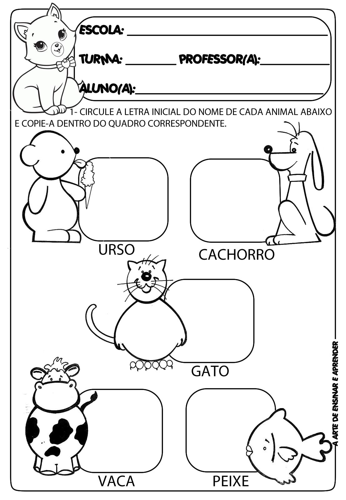 Muitas vezes Atividades prontas letra inicial e projeto animais | Lugares para  ZR75