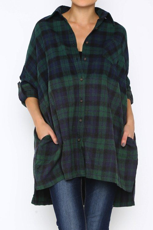Ombre Plaid Boy-friend's Flannel Shirt In Green