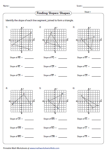 Finding Slope Shapes Edtpa Worksheets Counting Shapes