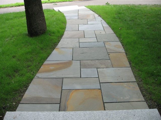 Full color natural cleft bluestone walkway landscape for Natural stone walkways
