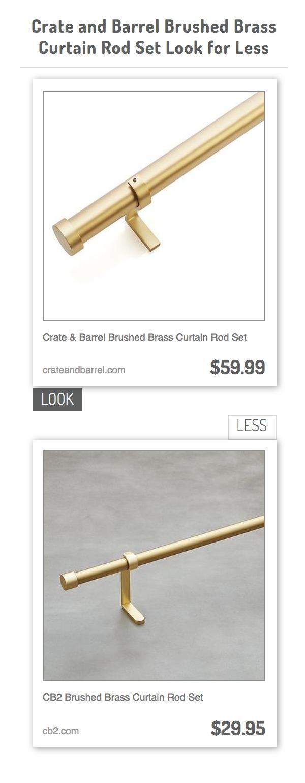 Crate Barrel Brushed Brass Curtain Rod Set Vs Cb2 Brushed Brass Curtain Rod Set Brass Curtain Rods Curtain Rods Crate And Barrel