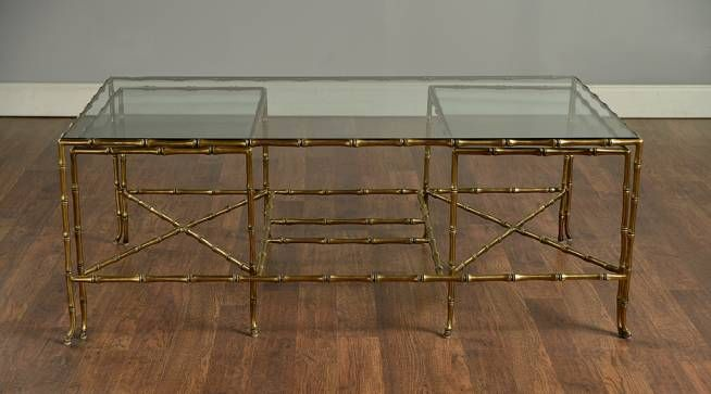 Faux Bamboo Brass Coffee Table | Mecox Gardens