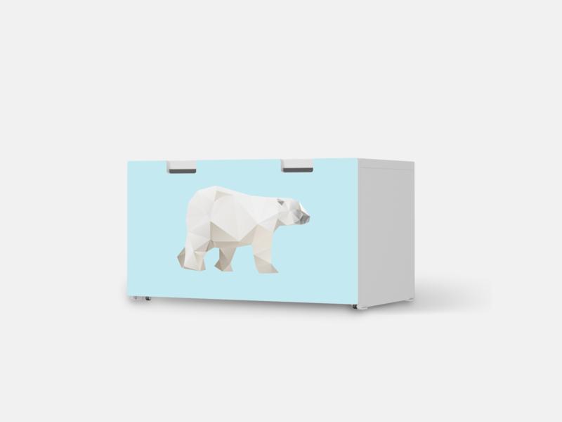 Designfolie Origami Polar Bear für dein Stuva Banktruhe