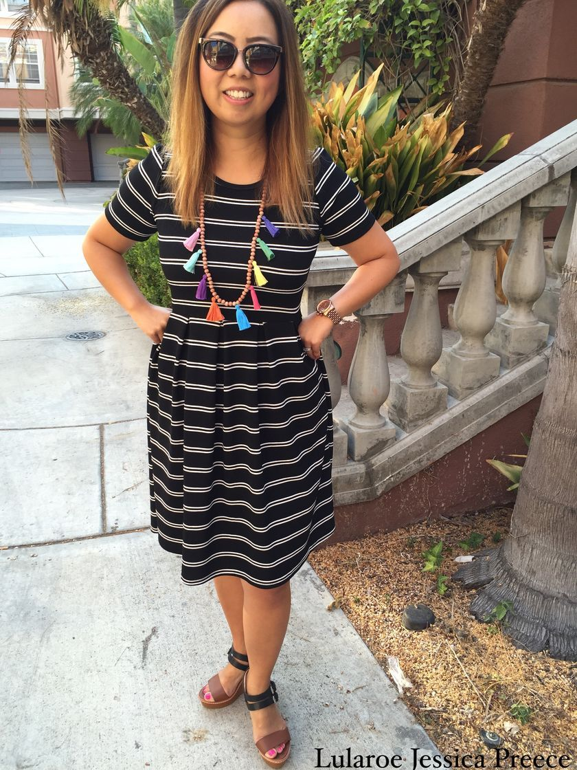 fabulous casual black white striped midi dress outfit that must