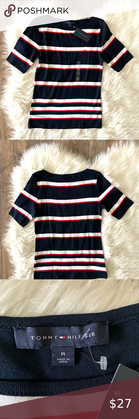 Tommy Hilfiger Women S Striped T Shirt Knit Sz M Tommy Hilfiger Women Tommy T Shirt Tommy Hilfiger Polo Shirts [ 1740 x 580 Pixel ]