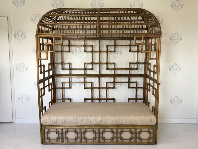 Rattan Hooded FRETWORK Daybed in nice as found VINTAGE condition