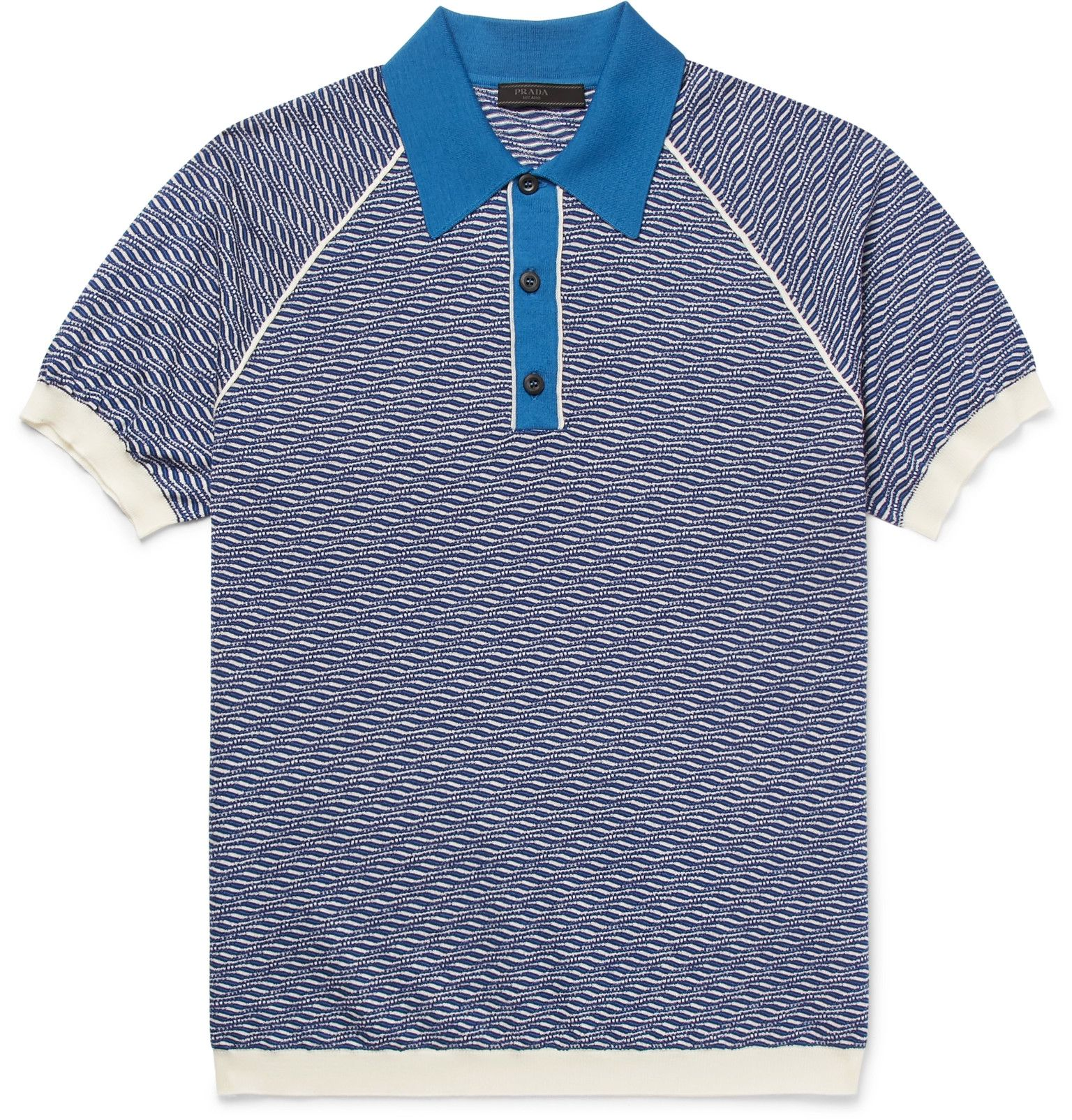 Prada Slim-Fit Jacquard-Knit Wool Polo Shirt  0546572da1105