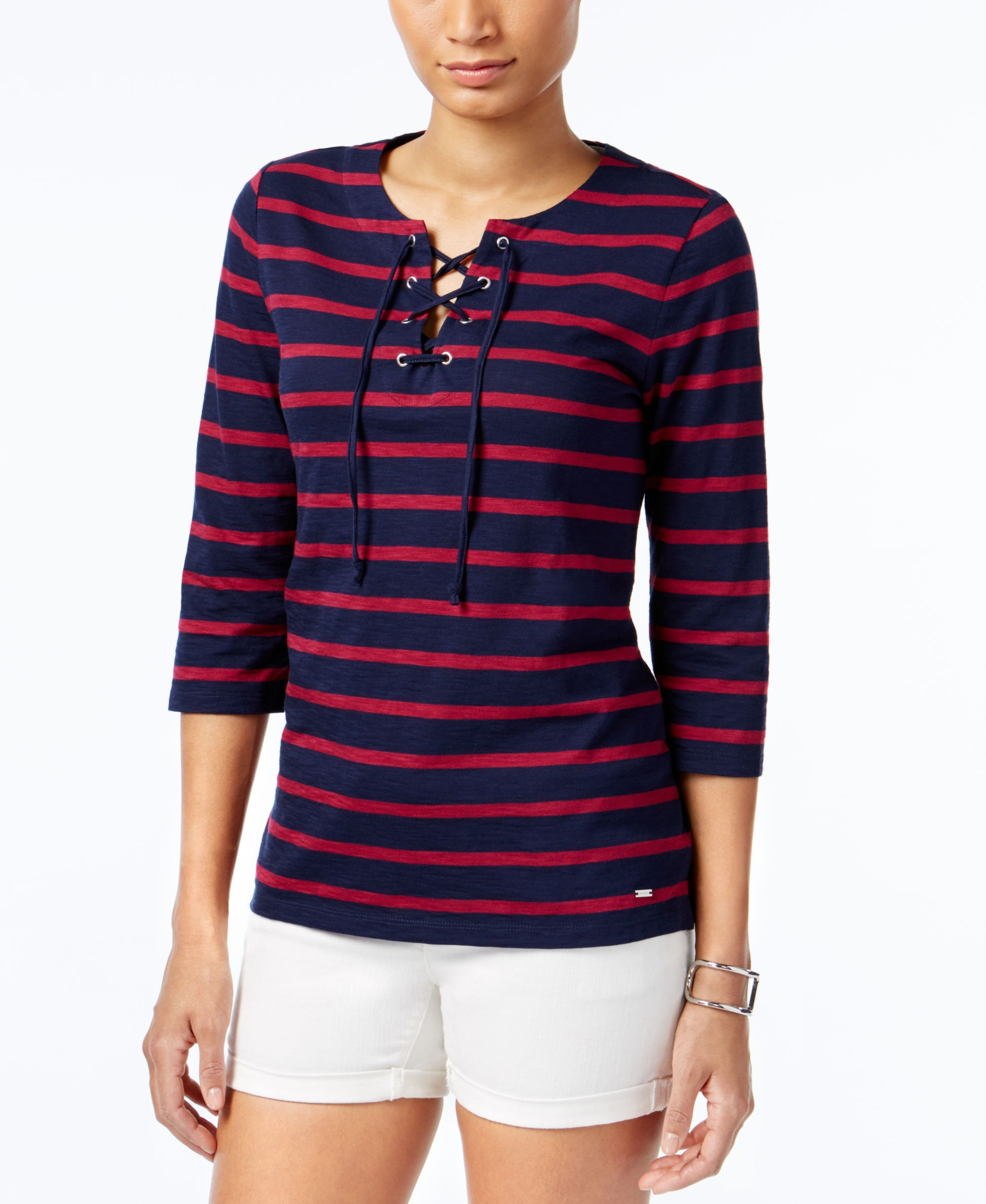 Tommy Hilfiger Loretta Striped Lace-Up Top, Created for Macy's - Tops -  Women - Macy's