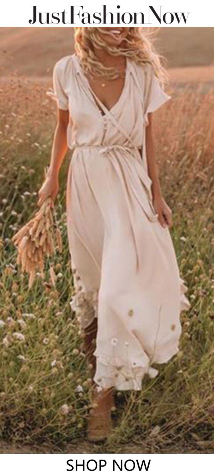 3c760e50de6 Beige Frill Sleeve Women Summer Maxi Dresses