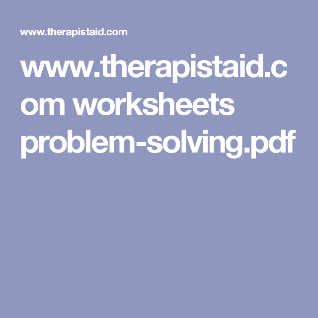 www therapistaid com worksheets problem-solving pdf