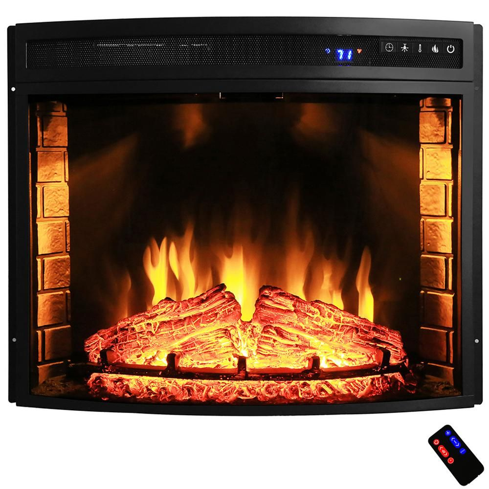 Curved Electric Fireplace Akdy 28 In Freestanding Electric Fireplace Insert Heater In Black