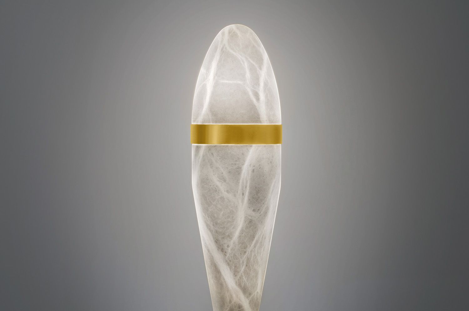 Sculpture Table Lamp Made In Alabaster Stone And Brass Plated In