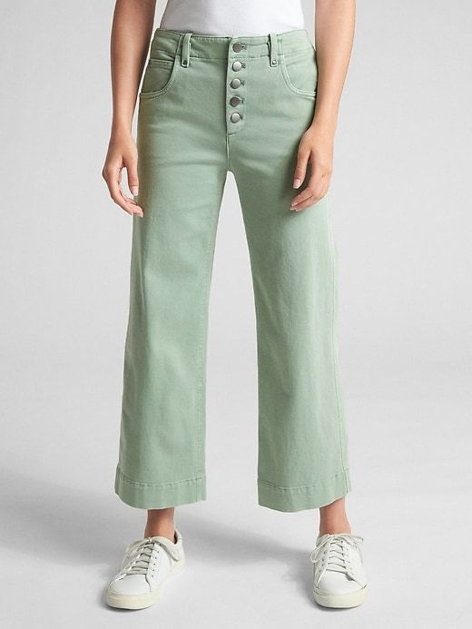 b274e244fe Gap Womens High Rise Crop Wide-Leg Pants With Button-Fly Ashbury Green